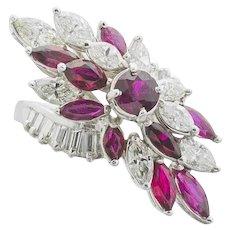 Vintage Midcentury 1950s Retro Platinum 4.50ct Ruby VS Diamond Ring