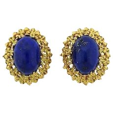 Wow! Stunning and Impressive Vintage Estate 1960s Lapis Cabochon Earrings, set in 14k Gold