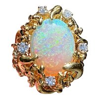 Vintage Retro 1970s 18k Gold Free Form Black Opal Diamond Cocktail Ring
