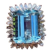 Impressive 14k Gold 19ct Aquamarine F VVS Diamond Ballerina Cocktail Ring