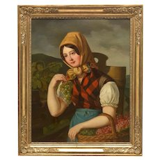 Antique Large Original Oil Painting, Woman Figure, Continental School, 19th Century