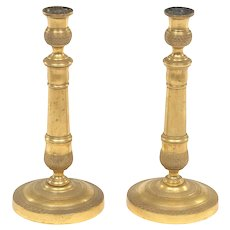 """19th Century Napoleon III Pair of Antique French Gilt Brass Candlesticks, 10.75"""""""