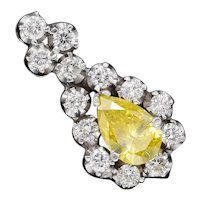 Vintage Estate 14k Gold 1.00ct Yellow Pear Diamond Pendant