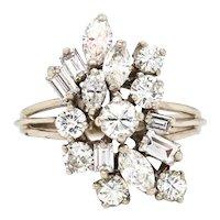 Vintage Estate 14k Gold Fancy 1.50ctw Baguette Marquise Diamond Cluster Ring