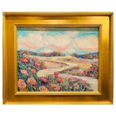 """Impressionist Country Poppies Landscape "", Original Oil Painting by artist Sarah Kadlic, 16""x20"" Gilt Leaf Wood Frame"