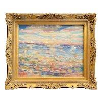 """Abstract Impressionist Impasto Landscape "", Original Oil Painting by artist Sarah Kadlic, 16""x 20"" Gilt Leaf Ornate Frame"