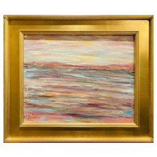 """Abstract Impressionist Impasto Landscape "", Original Oil Painting by artist Sarah Kadlic, 16""x 20"" Gilt Leaf Ornate Frame"