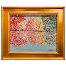 """Impressionist Abstract Trees Landscape "", Original Oil Painting by artist Sarah Kadlic, 20""x16"" Gilt Leaf Framed"