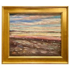 """Abstract Impressionist Impasto Landscape"", Original Oil Painting by artist Sarah Kadlic, 28""x24"" with Gilt Leaf Wood Frame"