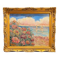 """Impressionist Floral Seascape"", Original Oil Painting by artist Sarah Kadlic, 28""x24"" with Gilt Leaf Ornate Frame"