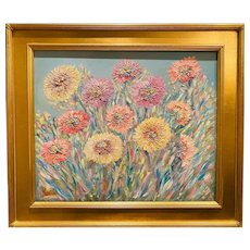 """Abstract Impressionist Wildflowers in the Wind"", Original oil painting by artist Sarah Kadlic, 24""x20"" Gilt Leaf Frame"