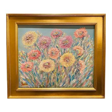 """""""Abstract Impressionist Wildflowers in the Wind"""", Original oil painting by artist Sarah Kadlic, 24""""x20"""" Gilt Leaf Frame"""