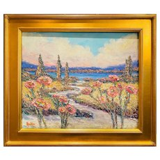 """Impressionist French Rivera Floral Seascape "", Original Oil Painting by artist Sarah Kadlic, 24""x 20"" Gilt Wood Frame"