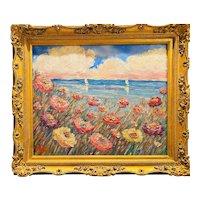 """Impressionist Floral Seascape"", Original Oil Painting by artist Sarah Kadlic, 28""x24"" with Gilt Leaf Ornate Frame"