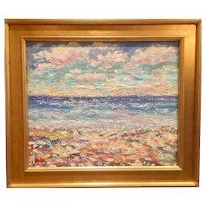 """Impressionist Impasto Seascape"", Original Oil Painting by artist Sarah Kadlic, 24x20"" Gilt Leaf Frame"