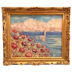 """Wildflowers Sunset Seascape"", Original Oil Painting by artist Sarah Kadlic, 24x20"" Gilt Leaf European Carved Frame"