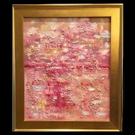 """Abstract Textured Impasto"", Original Oil Painting by artist Sarah Kadlic, 24x20"" Gilt Leaf Wood Frame"