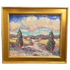 """Tuscan Italian Countryside Impasto Landscape"", Original Oil Painting by artist Sarah Kadlic, 24x20"" Gilt Leaf Wood Frame"