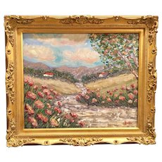 """Tuscany Italy Poppies Impressionist Landscape"", Original Oil Painting by artist Sarah Kadlic, 24x20"" Gilt Frame"
