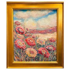 """Impressionist Country Poppies Landscape "", Original Oil Painting by artist Sarah Kadlic, 24""x20"" Gilt Leaf Wood Frame"