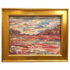 """Abstract Impasto Landscape"", Original Oil Painting by artist Sarah Kadlic, 18x24"" Gilt Framed"
