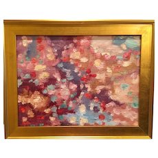 """""""Abstract Impasto of Color"""", Original Oil Painting by artist Sarah Kadlic, 24""""x18"""" Gold Gilt Frame"""