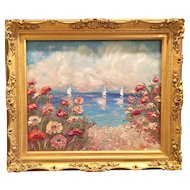 """Wildflowers Seascape"", Original Oil Painting by artist Sarah Kadlic, 24""x20"" Gilt Leaf Gold Frame"