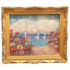 """Wildflowers Seascape"", Original Oil Painting by artist Sarah Kadlic, 24""x20"" Gilt Leaf Gold Frame"
