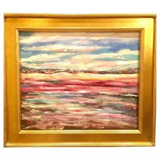 """Abstract Impasto Landscape"", Original Oil Painting by artist Sarah Kadlic, Gilt Framed 24x20"""