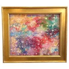 """Abstract Color Melt"", Original Oil Painting by artist Sarah Kadlic, 24x20"" with Gilt Wood Frame"
