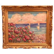 """Pink Flowers Beach Seascape"", Original Oil Painting by artist Sarah Kadlic, 24x20"" Gilt Leaf Frame"