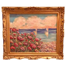"""""""French Riviera Calm Seascape"""", Original Oil Painting by artist Sarah Kadlic, 24""""x20"""" Gilt Leaf Wood Carved French Frame"""