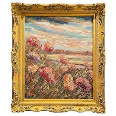 KADLIC Abstract impressionist Floral Landscape Impasto Original Oil Painting 24x20 Gilt Leaf Frame