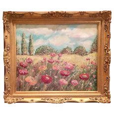 """Impressionist Poppies Landscape "", Original Oil Painting by artist Sarah Kadlic."