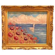 """Wildflowers Sunset Seascape"", Original Oil Painting by artist Sarah Kadlic, 24x20"" Gilt Leaf European Carved Frame"