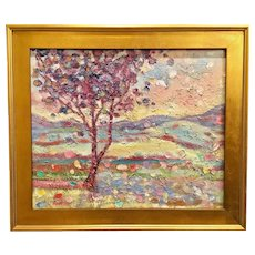 """Abstract Tree Impasto Landscape"", Original Oil Painting by artist Sarah Kadlic, 24x20"" Gilt Leaf Wood Frame"