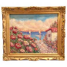 """Wildflowers Seascape with Villa"", Original Oil Painting by artist Sarah Kadlic, 24x20"" Gilt Leaf Frame"