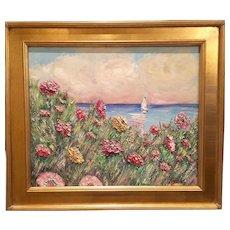 """Wildflowers Seascape"", Original Kadlic Abstract Oil Painting , 24x20 Gilt Leaf Frame"