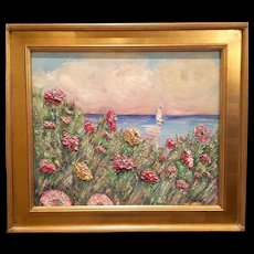 """Wildflowers Seascape"", Original Kadlic Abstract Oil Painting , 24x20 Gilt Leaf Frame"