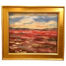 """Abstract Impasto Landscape"", Original Oil Painting by artist Sarah Kadlic, Gilt Framed 24x20"""