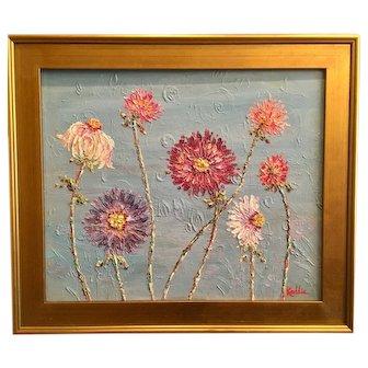"""Summer Wildflowers"", Original Oil Painting by artist Sarah Kadlic, 24x20"" Gilt Leaf Frame"