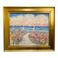 """Impressionist Floral Seascape"", Original Oil Painting by artist Sarah Kadlic, 28"" x 30"" Gilt Leaf Ornate French Frame"