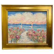 """Impressionist Floral Seascape"", Original Oil Painting by artist Sarah Kadlic, 28"" x 30"" Gilt Leaf Ornate French Frame"
