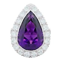 Art Deco Vintage Estate Platinum Pear Amethyst 2.00 ctw G VS Diamond Cocktail Ring