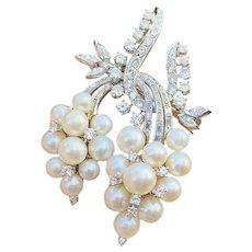 Impressive Vintage 1950s Estate 14k Gold 1.70ctw Diamond Cultured Pearl Large Pendant Brooch