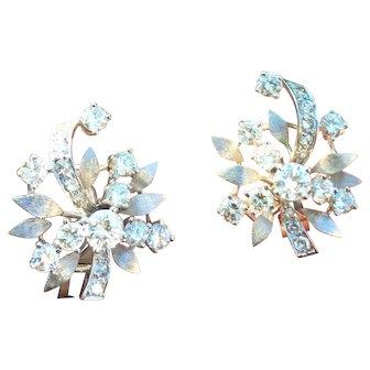 Stunning 1950s Vintage Estate Old Hollywood Style 2.40ct VS Diamond Pierced Earrings