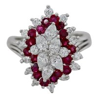 Striking Platinum Vintage Retro 2.50ctw Ruby Marquise Diamond Cluster Ring