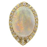 Impressive Large 30ct VS Diamond Opal 14k Gold Brooch Pendant Pin