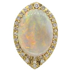Impressive Large 30ct VS Diamond Opal 14k Gold Brooch Pendant Pin