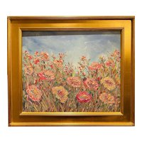 """Impressionist Floral Landscape"", Original Oil Painting by artist Sarah Kadlic, 28""x30"" with Gilt Leaf Frame"
